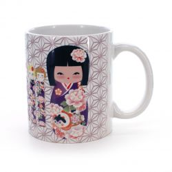 cup with kokeshi peony flower patterns white VIVID MUG KOKESHI BOTAN