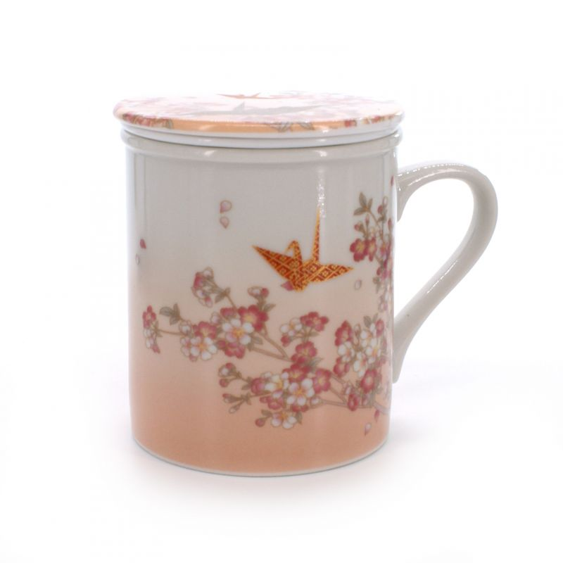 cup with lid and origami crane patterns white ORIZURU