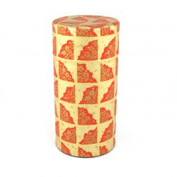 Japanese tea box made of metal and washi paper, TENPAKU, golden and red