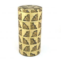 japanese tea box made of metal and washi paper, TENPAKU, black and golden