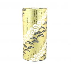 Japanese tea box made of washi paper, TAKESHIRABE, golden