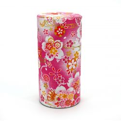 Japanese tea box made of washi paper, HANATSUZUMI, red