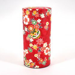 Japanese tea box made of washi paper, HANAYOSE, red