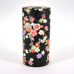 Japanese tea box made of washi paper, HANAYOSE, black