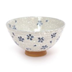 Japanese ceramic rice bowl, SAKURA, blue