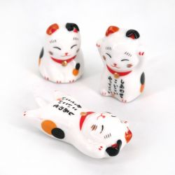 Japanese 5 ceramic chopsticks holder set MANEKINEKO cats