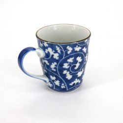 Japanese blue ceramic teacup mug DAMIKARAKUSA patterns