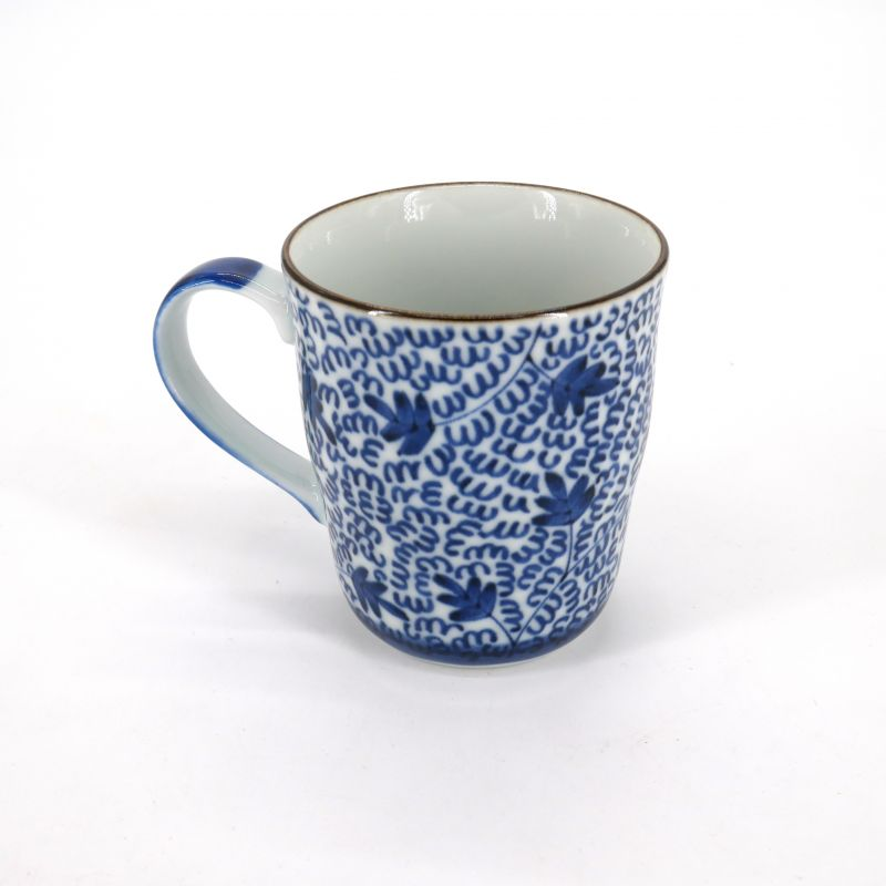 Japanese blue ceramic teacup mug MIJINKARAKUSA patterns