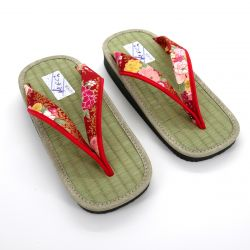 Gozo rice straw japanese sandals for women, GOZA 2528, red