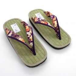 Gozo rice straw japanese sandals for women, GOZA 2528, purple