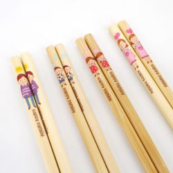 natural japanese chopsticks set in wood parents and children FAMILY