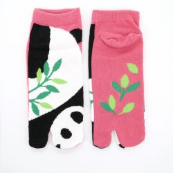 Japanese cotton tabi socks, PANDA, pink