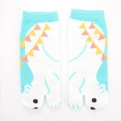 Japanese cotton tabi socks, SHIROKUMA, blue
