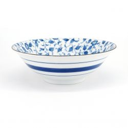 blue japanese ramen bowl in ceramic flowers HANA