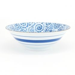 blue japanese ramen bowl in ceramic octopus TAKO KARAKUSA