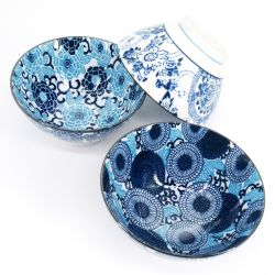 blue Japanese 3 bowls set in ceramic color patterns HANAYUZEN