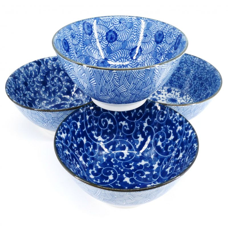 blue Japanese 4 bowls set in ceramic patterns KARAKUSA