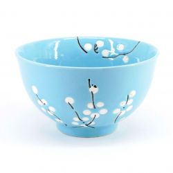 blue japanese rice bowl in ceramic plum flowers UME