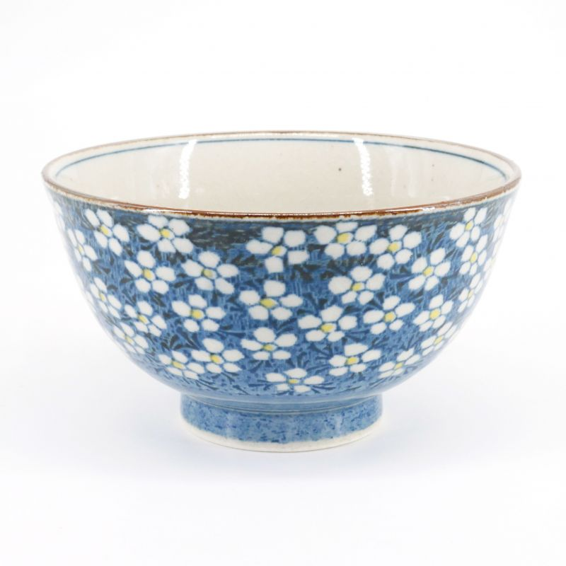 Japanese ceramic blue rice bowl, UME, plum flowers