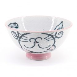 Japanese ceramic rice bowl, MANEKINEKO, cat