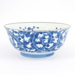 blue japanese ramen bowl in ceramic Ø18.3cm DAMIKARAKUSA patterns