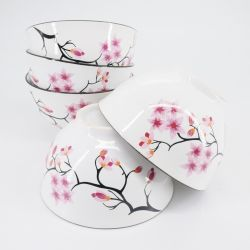 pink Japanese 5 bowls set in ceramic flowers TORII