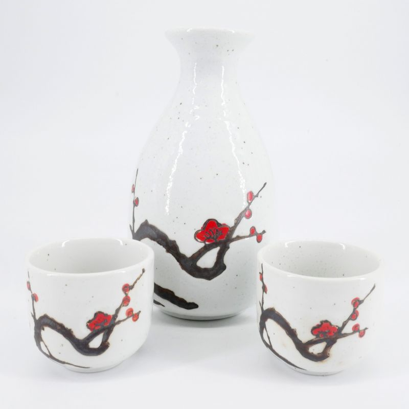 red japanese bottle and 2 sake cups set in ceramic plum flowers AKAUME