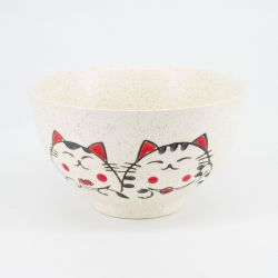 grey Japanese 5 bowls set in ceramic cats MANEKINEKO
