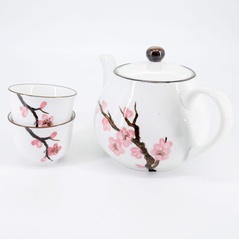 pink japanese teapot and 2 teacups set in ceramic cherry blossoms SAKURA