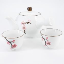pink japanese teapot with 2 teacups in ceramic cherry blossoms SAKURA