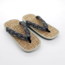 Pair of Japanese sandals zori seagrass, 042 ASANOHA, blue