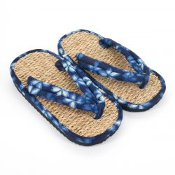 Pair of Japanese sandals zori seagrass, SAKURA 63BL, blue