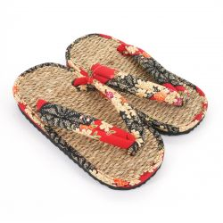 Pair of Japanese sandals zori seagrass, SAKURA 63RD, red