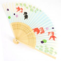 Japanese fan in Silk and Bamboo, KOI