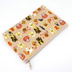Japanese cotton clutch bag, MANEKI DARUMA, color of your choice