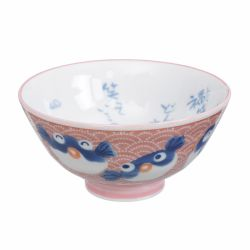 Japanese ceramic bowl with pink fish - PINKU SAKANA