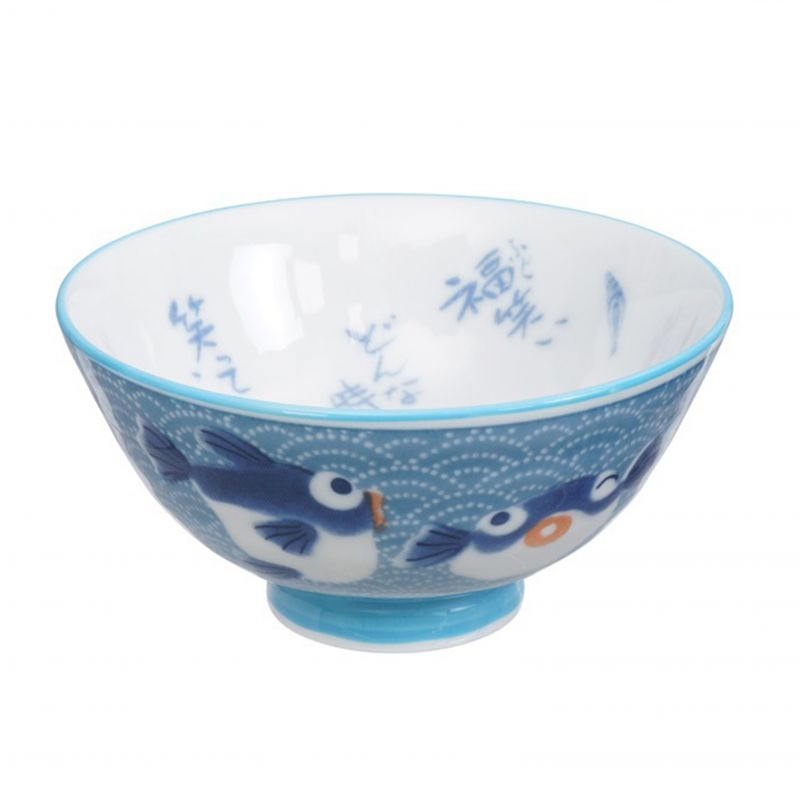 Japanese blue fish ceramic bowl - AO SAKANA