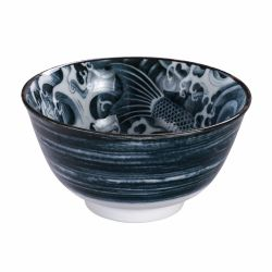 Japanese black carp ceramic bowl - TAYO CARP