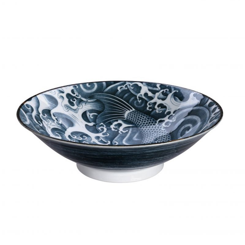 Japanese black carp ceramic bowl - MENBACHI CARP