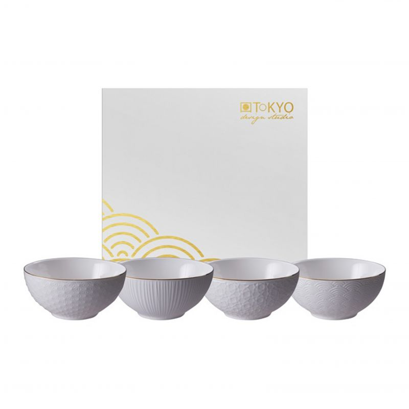 Set of 4 Japanese ceramic bowls with golden border - GORUDO