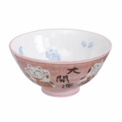 Japanese ceramic bowl with pink cat - PINKU NEKO