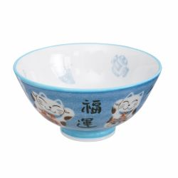 Japanese blue cat ceramic bowl - AO NEKO