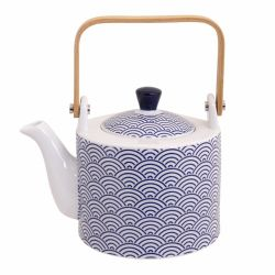Japanese ceramic teapot with wave patterns, NAMI 90cl, blue