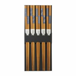 Set of 5 pairs of blue Japanese chopsticks - HASHI SETO