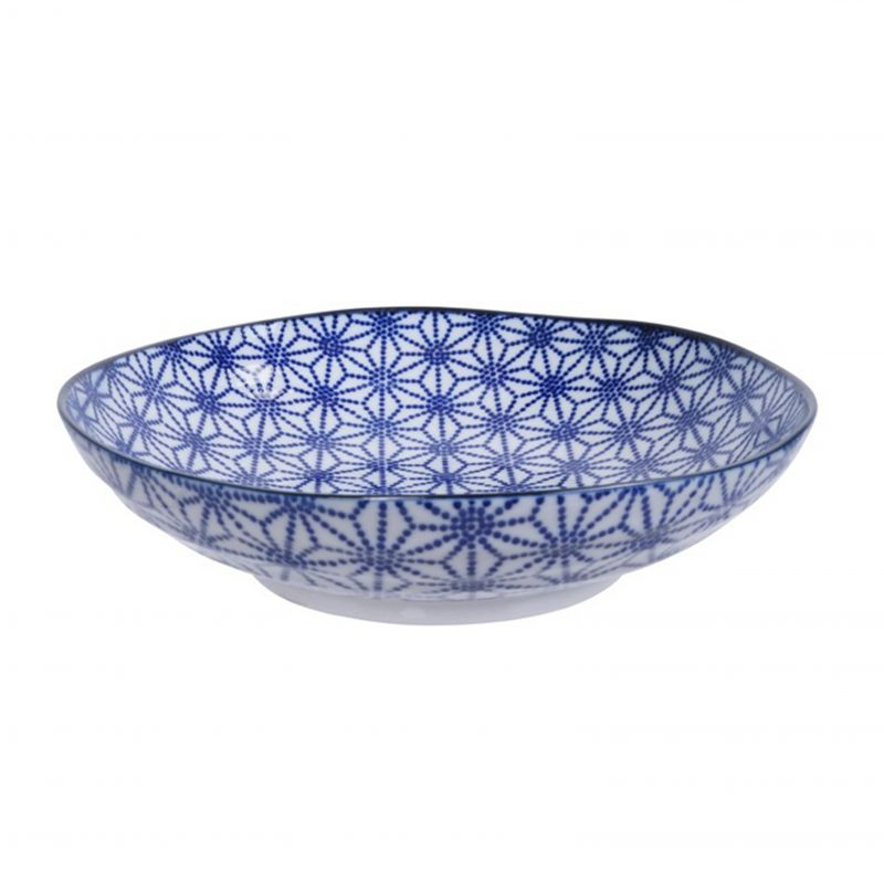 Blue Japanese ramen plate in ceramic, star pattern - HOSHI MOYO