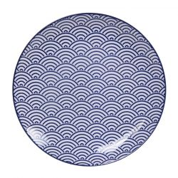 Japanese blue ceramic plate, wave pattern - NAMI MOYO