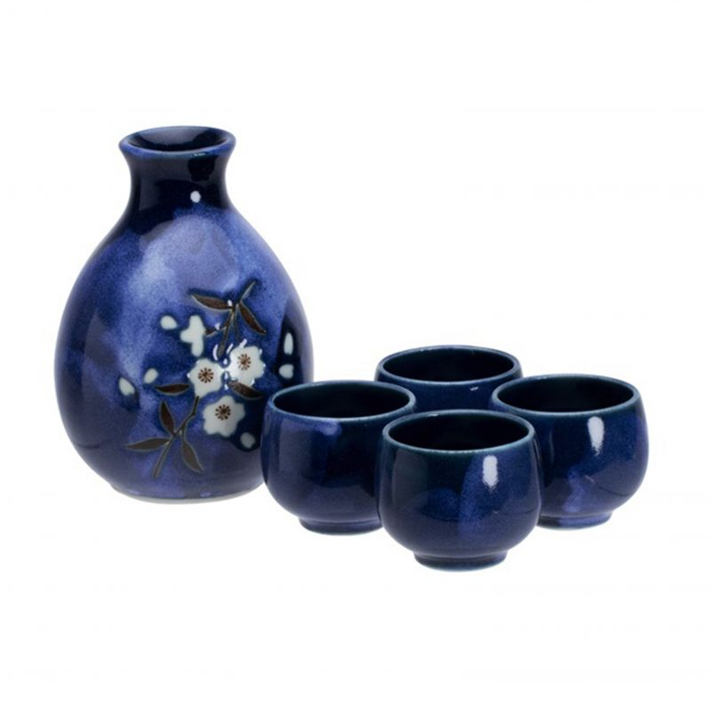 sake service bottle and 2 cups - NIHONSHU SEITO