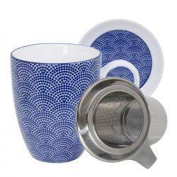 Japanese blue ceramic mug, dot patterns - AOMAGU