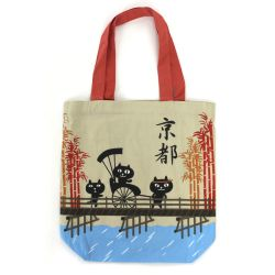 100% cotton tote bag, CANVA BAG, cats on a bridge