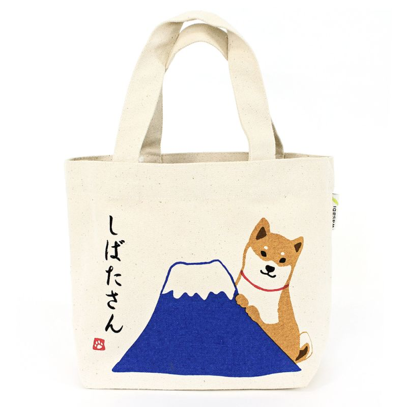 100% cotton tote bag, CANVA BAG, shiba and Fujisan
